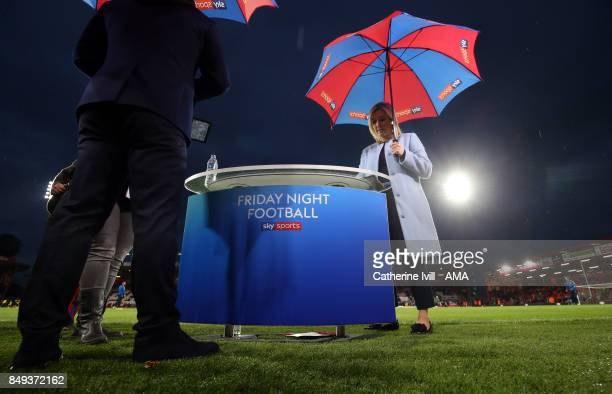 Kelly Cates presents Sky Sports tv Friday night football before the Premier League match between AFC Bournemouth and Brighton and Hove Albion at...