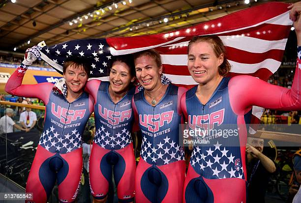 Kelly Catlin Chloe Dygert Sarah Hammer and Jennifer Valente of USA celebrate after winning the Women's Team Pursuit Final during Day Three of the UCI...