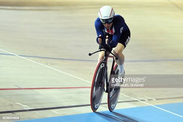 US Kelly Catlin competes in the women's individual pursuit bronze medal race during the UCI Track Cycling World Championships in Apeldoorn on March 3...