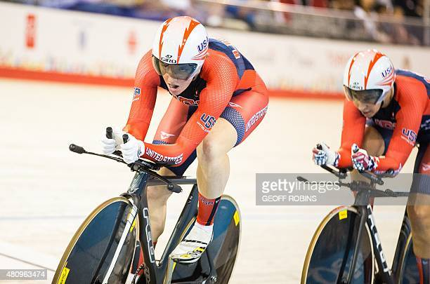 Kelly Catlin of the United States leads her team as they compete in the women's team pursuit qualification on the fist day of track cycling at the...
