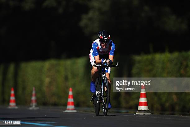 Kelly Catlin of the USA in action in the Junior Women's Time Trial during day two of the UCI Road World Championships on September 23 2013 in...