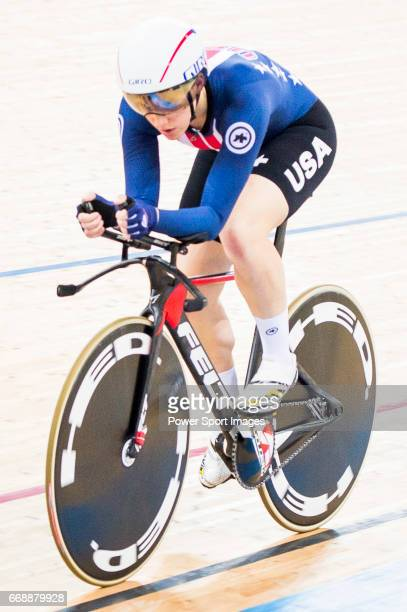 Kelly Catlin of USA competes on the Women's Individual Pursuit Finals during 2017 UCI World Cycling on April 15 2017 in Hong Kong Hong Kong