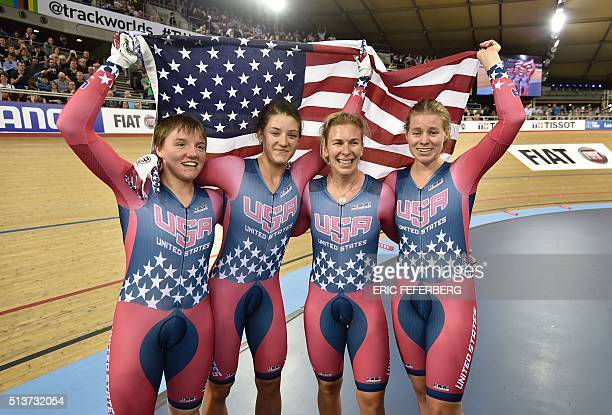 US Kelly Catlin US Chloe Dygert US Sarah Hammer and US Jennifer Valente celebrate after taking gold in the Women's Team Pursuit final during the 2016...
