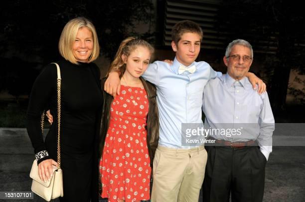 Kelly Chapman Meyer Lifetime Achievement Award receipient her daughter Carson Meyer her son Eli Meyer and her husband Ron Meyer President Universal...