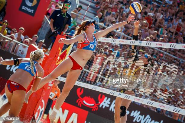 Kelly Claes of the United States competes against Kira Walkenhorst of Germany during Day 7 of the FIVB Beach Volleyball World Championships 2017 on...