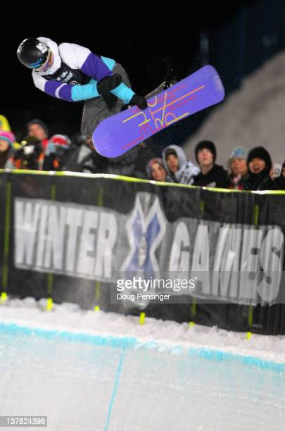 Kelly Clark does a backside air on her way to winning the goal medal in the women's snowboard superpipe during Winter X Games 2012 at Buttermilk...