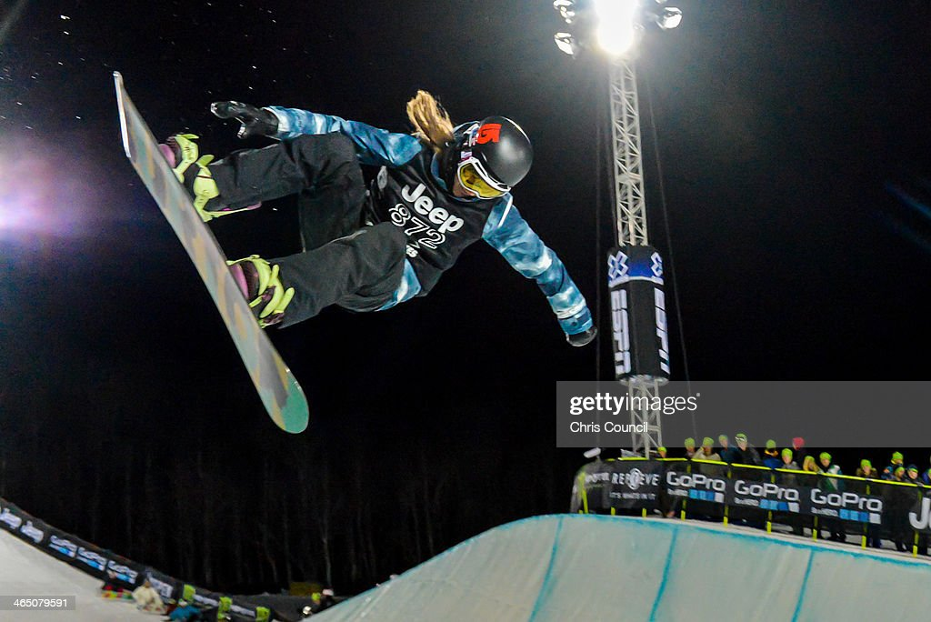 Kelly Clark flies through the air on her way to earning her fourth gold medal in the Winter X-Games 2014 women's Snowboard Superpipe final at Winter X-Games 2014 Aspen at Buttermilk Mountain on January 25, 2014 in Aspen, Colorado.