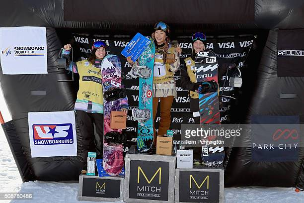 Kelly Clark in third place Chloe Kim in first place and Maddie Mastro in second place celebrate on the podium in the ladies' FIS Snowboard World Cup...