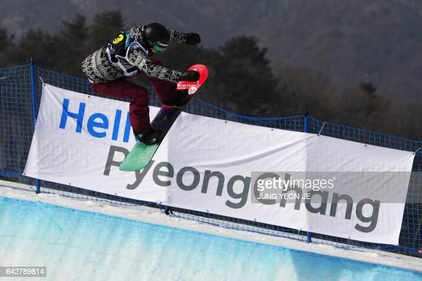 Kelly Clark of the US competes during the women's halfpipe final in the FIS Snowboard World Cup at Phoenix Snow Park in Pyeongchang on February 19...