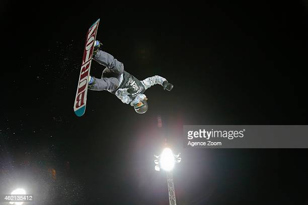 Kelly Clark of the USA takes 2nd place during the Winter X Games Women's Snowboard Superpipe on January 24, 2015 in Aspen, USA.