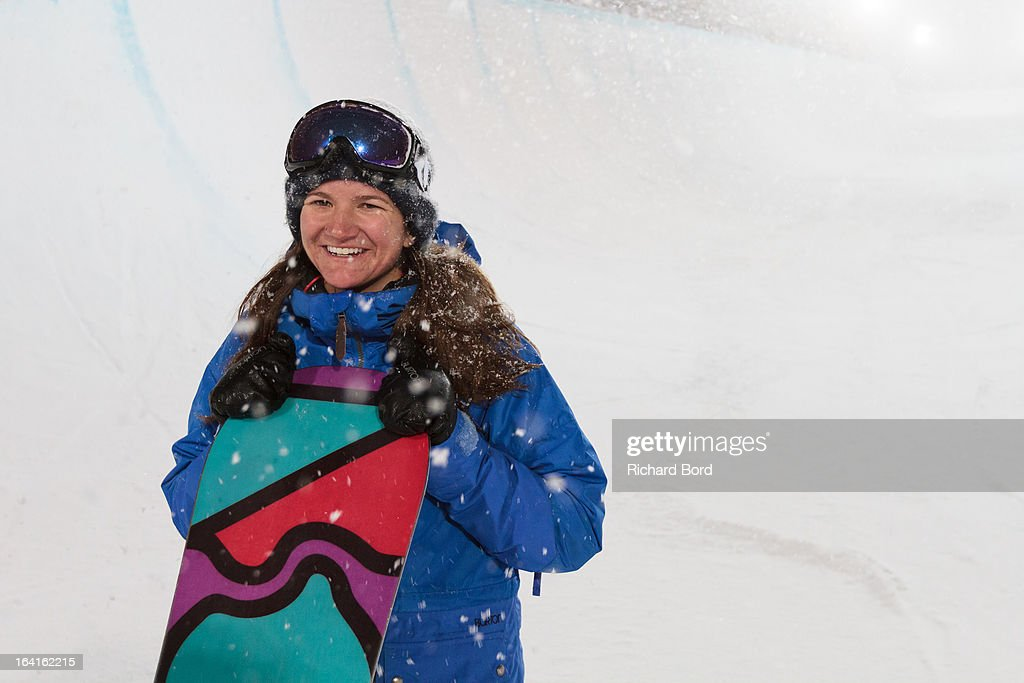 Kelly Clark poses after winning the Women's Snowboard Superpipe final during day three of Winter X Games Europe 2013 on March 20, 2013 in Tignes, France.