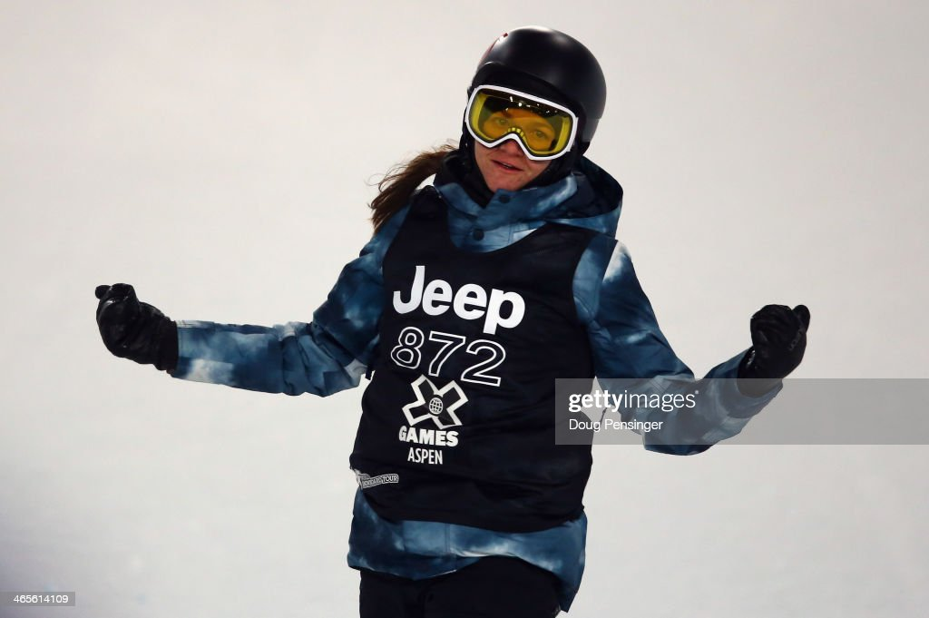 Kelly Clark reacts en route to winning the women's Snowboard Superpipe at Winter X-Games 2014 Aspen at Buttermilk Mountain on January 25, 2014 in Aspen, Colorado.