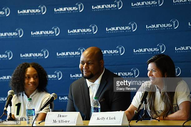 Kelly Clark speaks at the Female Youth Retention in Sports Panel featuring Allyson Felix Deuce Mcallister Kelly Clark and Tonya Antonucci on...