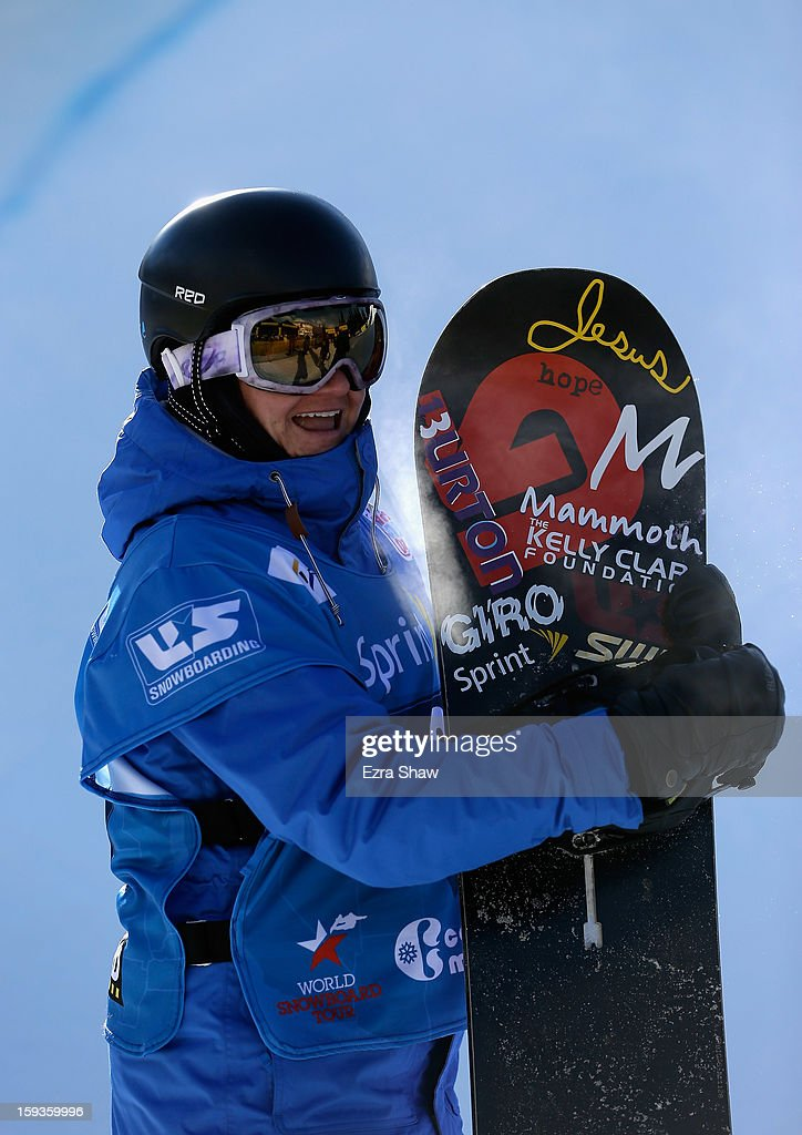 Kelly Clark stands at the finish line after competing in the FIS Snowboard World Cup Half Pipe ladies' final at the US Grand Prix on January 12, 2013 in Copper Mountain, Colorado.
