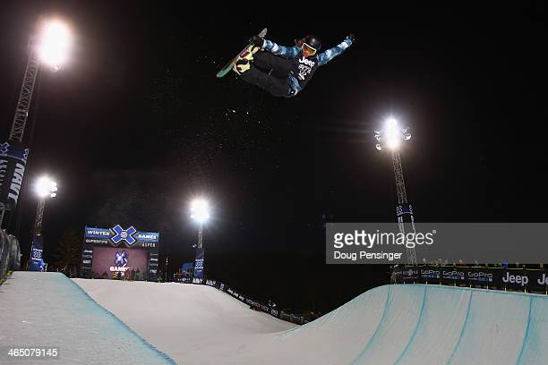 Kelly Clark takes a practice run prior to the finals as she went on to win the women's Snowboard Superpipe at Winter XGames 2014 Aspen at Buttermilk...