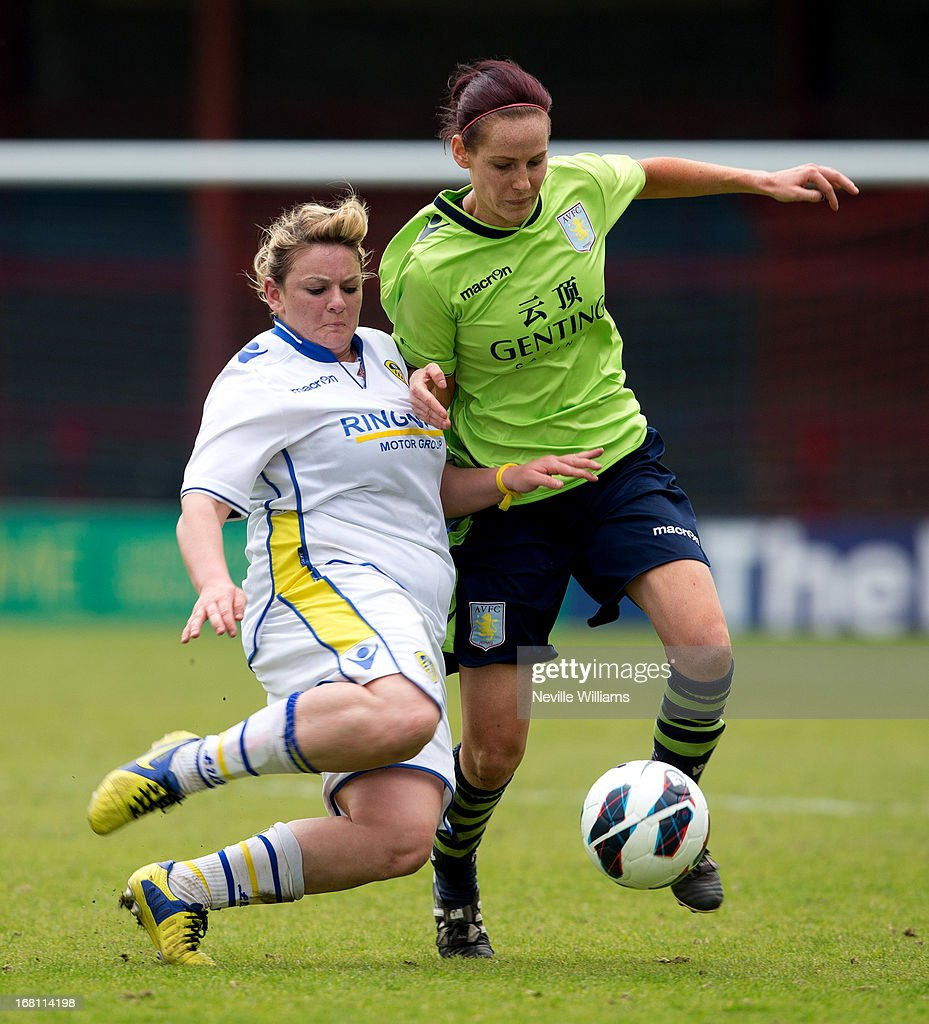 Kelly Clarke of Aston Villa Ladies is challenged by Carey Huegett of Leeds United Ladies during the FA Women's Premier League Cup Final match on May 05, 2013 in York, England.