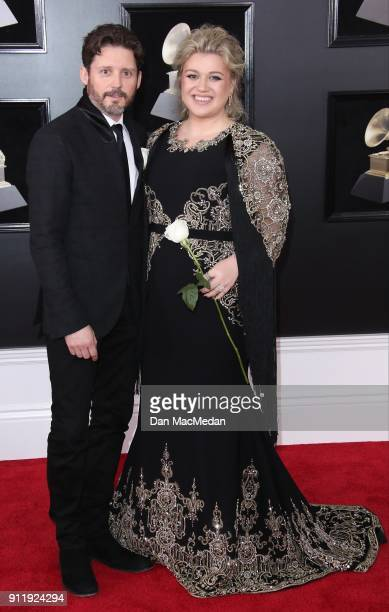 Kelly Clarkson and Brandon Blacksock arrive at the 60th Annual GRAMMY Awards at Madison Square Garden on January 28 2018 in New York City
