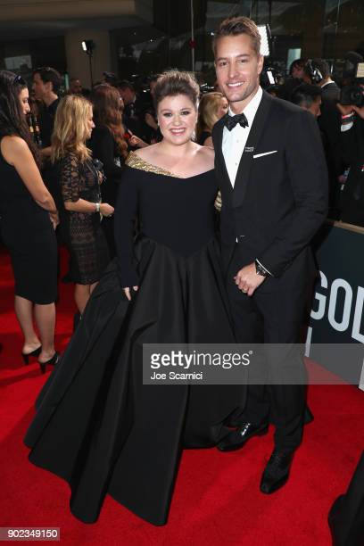 Kelly Clarkson and Justin Hartley celebrate The 75th Annual Golden Globe Awards with Moet Chandon at The Beverly Hilton Hotel on January 7 2018 in...