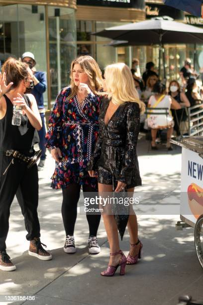 Kelly Clarkson and Kristin Chenoweth are seen fiming a music video in Midtown on August 24, 2021 in New York City.