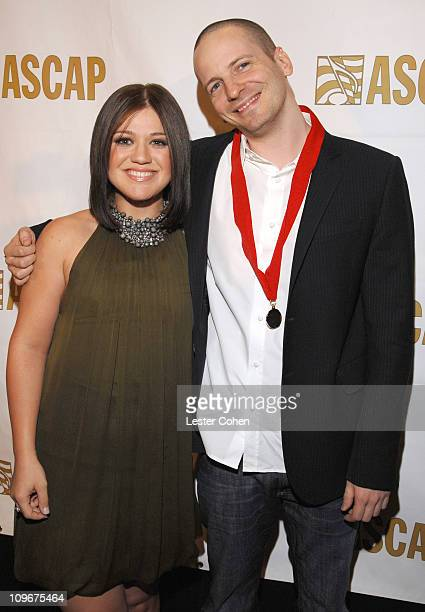 Kelly Clarkson and Lukasz 'Dr Luke' Gottwald during ASCAP Pop Music Awards at Kodak Theater in Los Angeles California United States