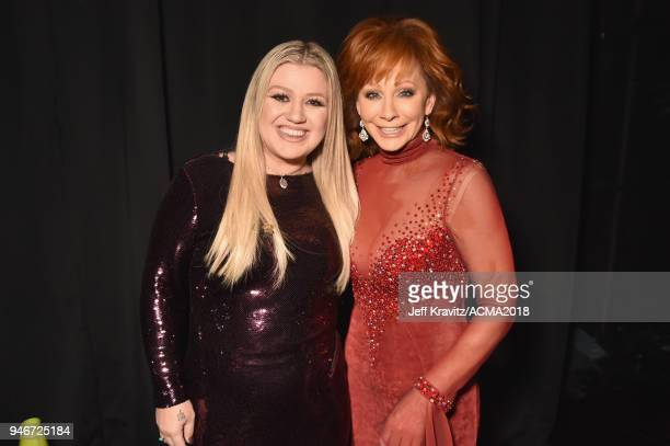 Kelly Clarkson and Reba McEntire attend the 53rd Academy of Country Music Awards at MGM Grand Garden Arena on April 15 2018 in Las Vegas Nevada