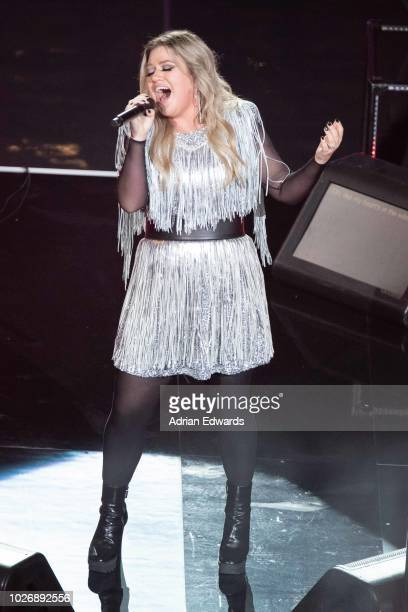 Kelly Clarkson at the opening night ceremonies for the US Open held at the USTA Tennis Center in Flushing Meadows Corona Park on August 27 2018 in...