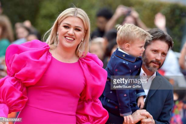 Kelly Clarkson Brandon Blackstock and Remington Alexander Blackstock attend STX Films World Premiere of UglyDolls at Regal Cinemas LA Live on April...