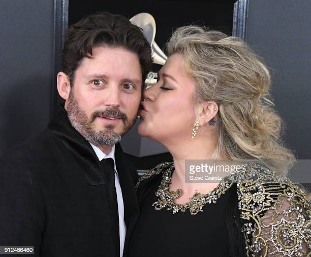 Kelly Clarkson Brandon Blackstock arrives at the 60th Annual GRAMMY Awards at Madison Square Garden on January 28 2018 in New York City