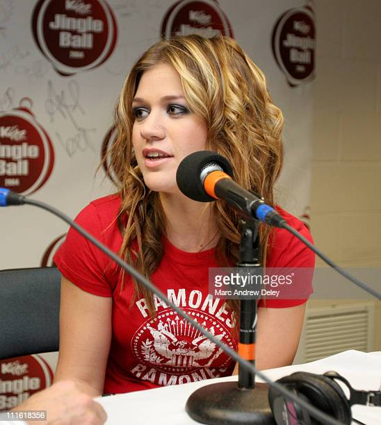 Kelly Clarkson during KISS 108 FM Jingle Ball 2004 Backstage at Tsongas Arena in Lowell Massachusetts United States