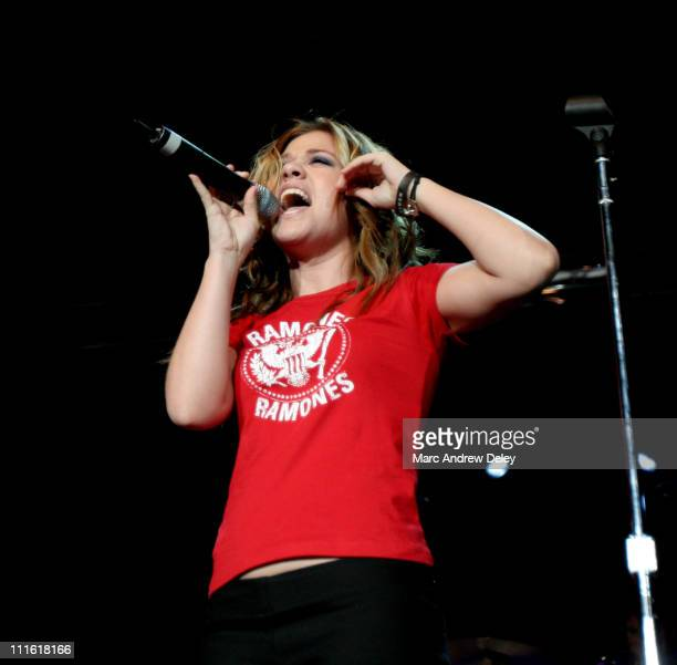 Kelly Clarkson during KISS 108 FM Jingle Ball 2004 Show at Tsongas Arena in Lowell Massachusetts United States