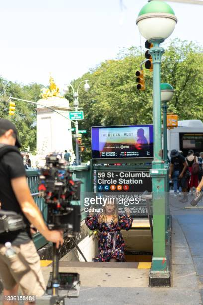 Kelly Clarkson is seen fiming a music video in Midtown on August 24, 2021 in New York City.
