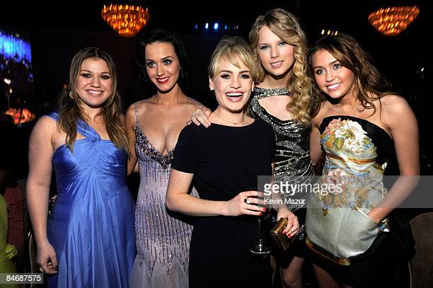 Kelly Clarkson Katy Perry Duffy Taylor Swift and Miley Cyrus attends the 2009 GRAMMY Salute To Industry Icons honoring Clive Davis at the Beverly...