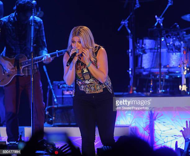 Kelly Clarkson performing on stage at Wembley Arena in London on the 20th October, 2012.