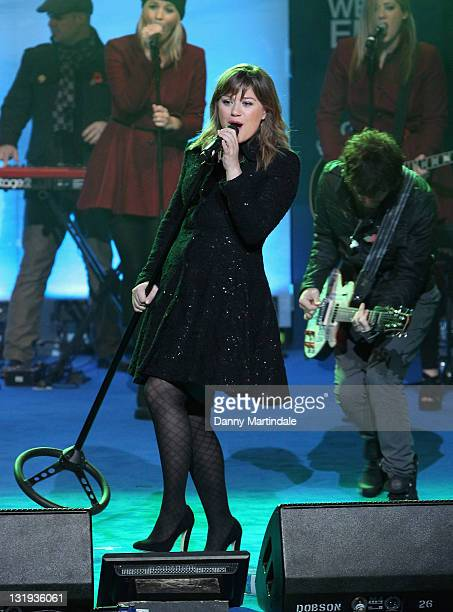 Kelly Clarkson performs during the switchon of Regent Street's Christmas lights celebrating the new film 'Arthur Christmas' on November 8 2011 in...