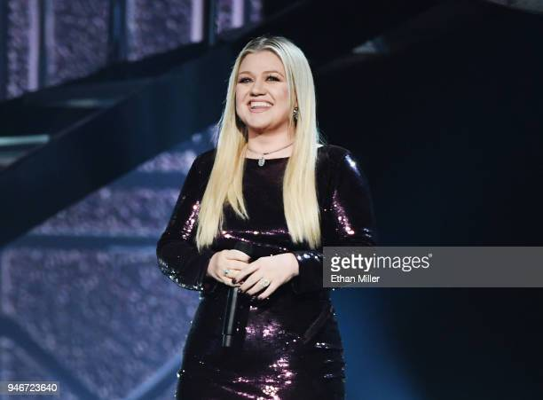 Kelly Clarkson performs onstage during the 53rd Academy of Country Music Awards at MGM Grand Garden Arena on April 15 2018 in Las Vegas Nevada
