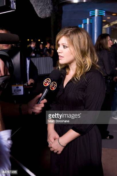 Kelly Clarkson season 1 winner is interviewed after the grand opening show of the American Idol Experience at Disney's Hollywood Studios In Walt...