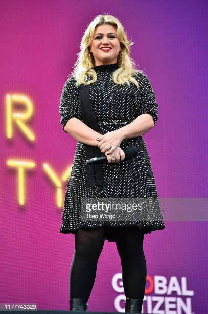 Kelly Clarkson speaks onstage during the 2019 Global Citizen Festival Power The Movement in Central Park on September 28 2019 in New York City