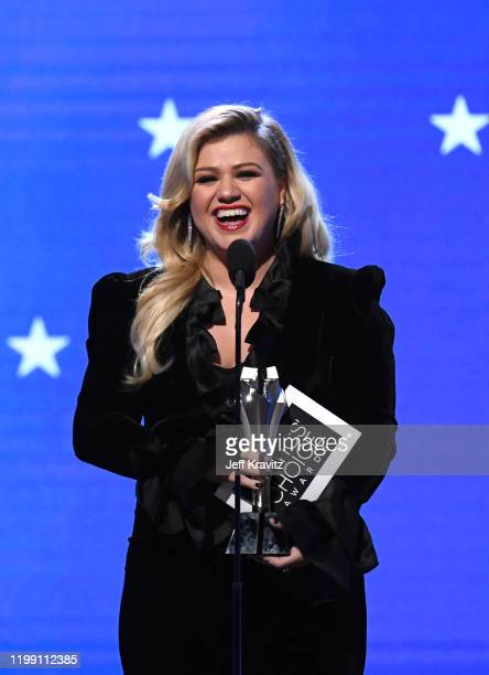 Kelly Clarkson speaks onstage during the 25th Annual Critics' Choice Awards at Barker Hangar on January 12, 2020 in Santa Monica, California.