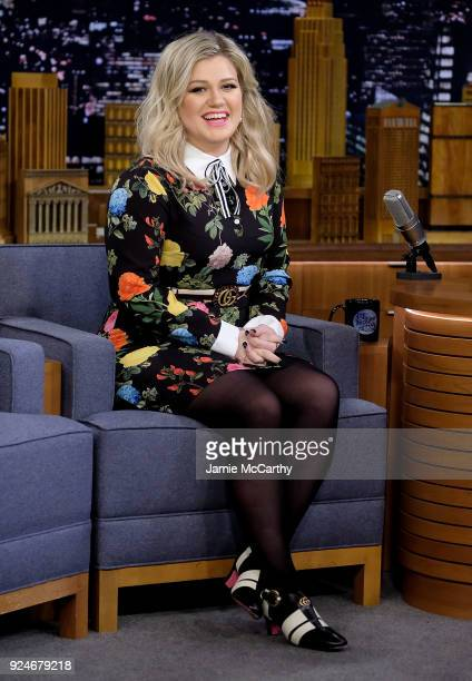 Kelly Clarkson visits The Tonight Show Starring Jimmy Fallon at Rockefeller Center on February 26 2018 in New York City