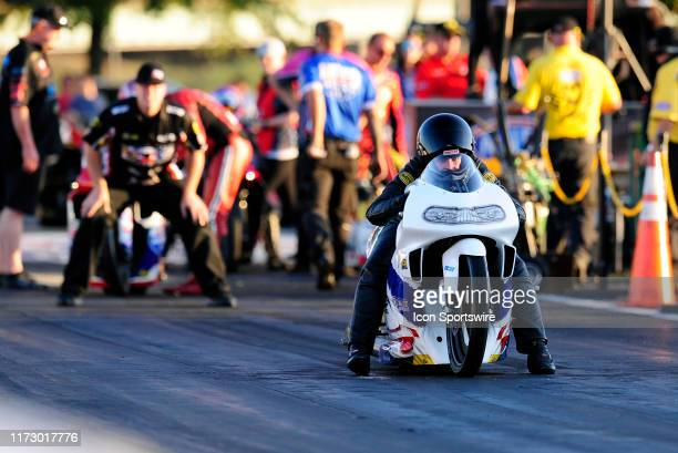 Kelly Clontz NHRA Pro Stock Motorcycle rolls to the starting line during qualifying for the NHRA Mellow Yellow Drag Racing Series AAA Midwest...