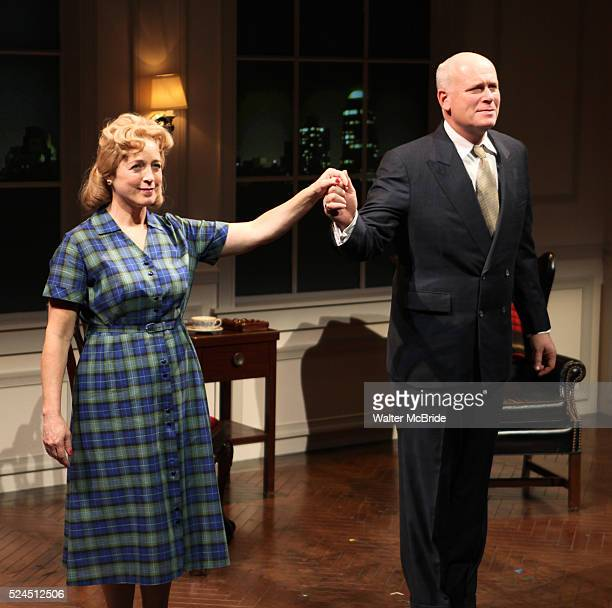 Kelly Coffield Park John Ottavino during the Curtain Call for the Opening Celebration of 'Checkers' at the Vineyard Theatre in New York City on