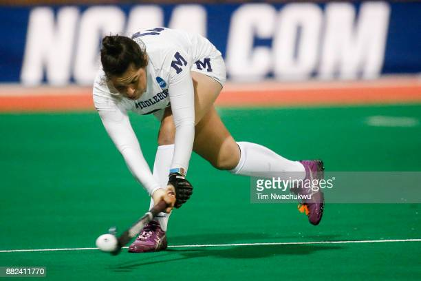 Kelly Coyle of Middlebury College attempts a pass during the Division III Women's Field Hockey Championship held at Trager Stadium on November 19...