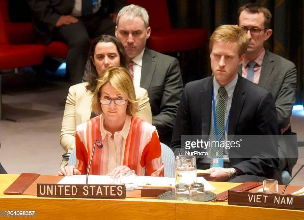 Kelly Craft the Permanent Representative of the United States to the UN attends the UN Security Council's emergence meeting on the situation in Syria...