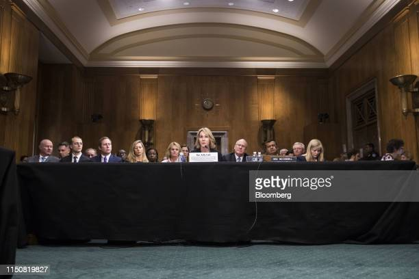Kelly Craft US ambassador to the United Nations nominee for President Donald Trump center speaks during a Senate Foreign Relations confirmation...