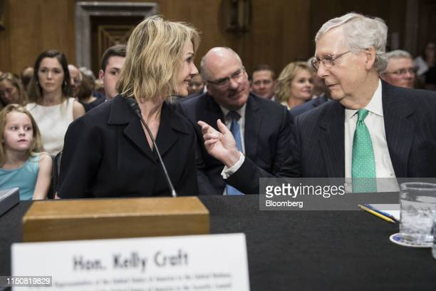 Kelly Craft US ambassador to the United Nations nominee for President Donald Trump center left speaks with Senate Majority Leader Mitch McConnell a...