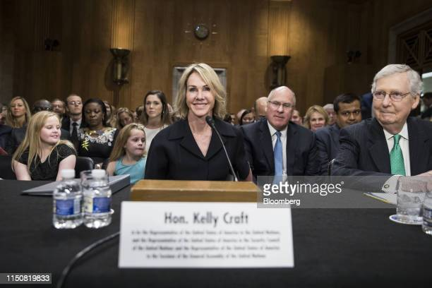 Kelly Craft US ambassador to the United Nations nominee for President Donald Trump center and Senate Majority Leader Mitch McConnell a Republican...