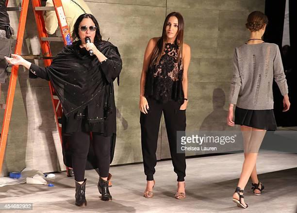 Kelly Cutrone and designer Stella Nolasco backstage at the Stella Nolasco fashion show during MercedesBenz Fashion Week Spring 2015 at The Pavilion...