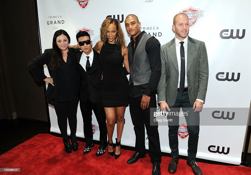 Kelly Cutrone, Bryanboy, Tyra Banks, Rob Evans and Johnny Wujek attend the 'America's Next Top Model: College Edition, Cycle 19' Premiere at the Tribeca Grand Hotel on August 22, 2012 in New York City.