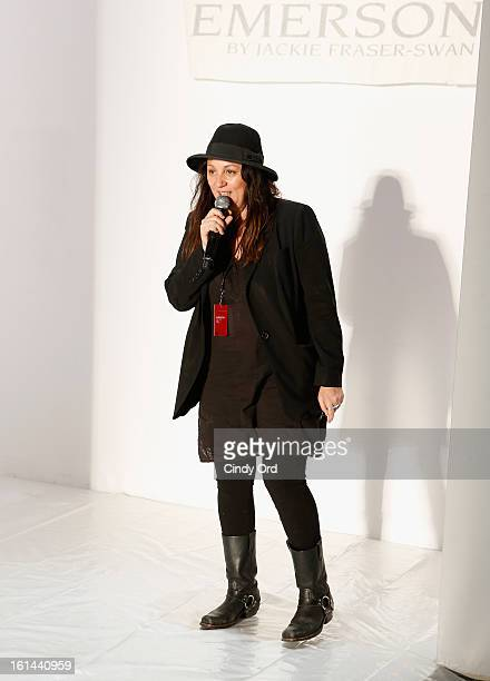 Kelly Cutrone prepares backstage at the Emerson Fall 2013 fashion show during MercedesBenz Fashion Week at The Studio at Lincoln Center on February...
