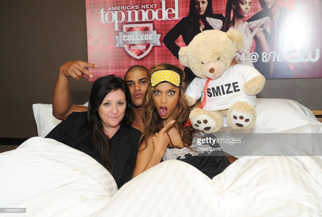 Kelly Cutrone, Rob Evans and Tyra Banks attend the 'America's Next Top Model: College Edition, Cycle 19' Premiere at the Tribeca Grand Hotel on August 22, 2012 in New York City.
